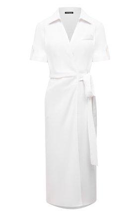 Женское платье изо льна и вискозы KITON белого цвета, арт. D51362K09T84 | Фото 1