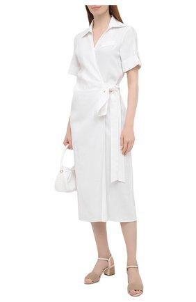 Женское платье изо льна и вискозы KITON белого цвета, арт. D51362K09T84 | Фото 2