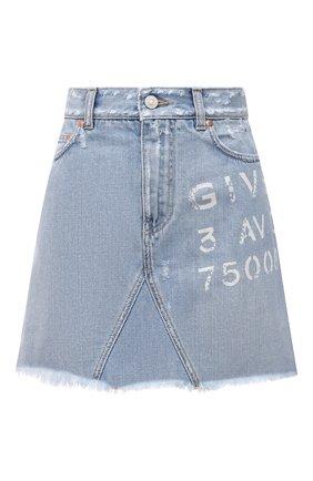 Женская джинсовая юбка GIVENCHY голубого цвета, арт. BW40GL50D1 | Фото 1