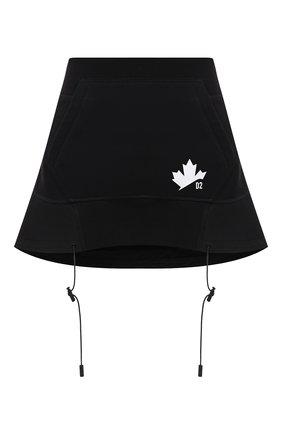 Женская хлопковая юбка DSQUARED2 черного цвета, арт. S75MA0764/S25042 | Фото 1 (Материал внешний: Хлопок; Длина Ж (юбки, платья, шорты): Мини; Женское Кросс-КТ: Юбка-одежда; Стили: Спорт-шик)