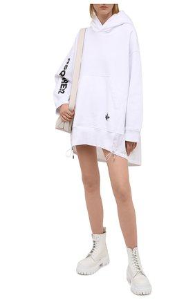 Женское хлопковое платье DSQUARED2 белого цвета, арт. S75CV0393/S25042 | Фото 2