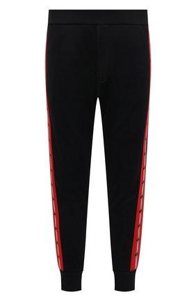 Мужские джоггеры DSQUARED2 черного цвета, арт. S74KB0505/S25497 | Фото 1 (Материал внешний: Синтетический материал, Хлопок; Длина (брюки, джинсы): Стандартные; Силуэт М (брюки): Джоггеры; Стили: Спорт-шик; Мужское Кросс-КТ: Брюки-трикотаж)
