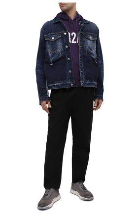 Мужской хлопковое худи DSQUARED2 фиолетового цвета, арт. S74GU0495/S23851   Фото 2 (Материал внешний: Хлопок; Длина (для топов): Стандартные; Рукава: Длинные; Мужское Кросс-КТ: Худи-одежда; Принт: С принтом; Стили: Гранж)