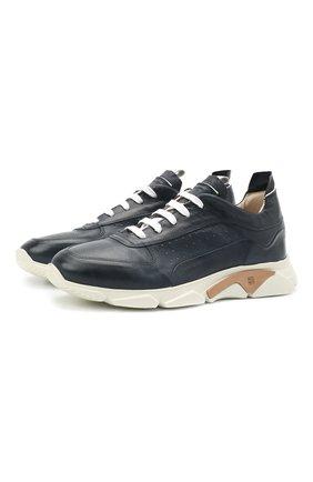 Мужские кожаные кроссовки MOMA темно-синего цвета, арт. 4AS018-S0 | Фото 1