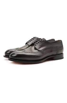 Мужские кожаные дерби SANTONI темно-серого цвета, арт. MCC017026MC3HVVDG60 | Фото 1 (Материал внутренний: Натуральная кожа; Стили: Классический; Мужское Кросс-КТ: Броги-обувь)