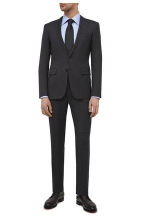 Мужские кожаные дерби SANTONI темно-серого цвета, арт. MCC017026MC3HVVDG60 | Фото 2 (Материал внутренний: Натуральная кожа; Стили: Классический; Мужское Кросс-КТ: Броги-обувь)
