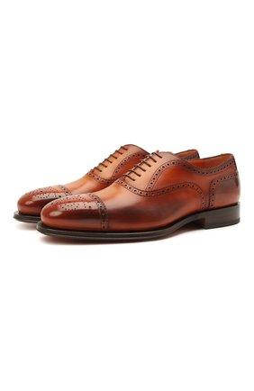 Мужские кожаные оксфорды SANTONI коричневого цвета, арт. MCPH17555RB2INGCC45 | Фото 1 (Материал внутренний: Натуральная кожа; Стили: Классический; Мужское Кросс-КТ: Броги-обувь)