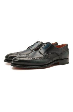 Мужские кожаные дерби SANTONI темно-серого цвета, арт. MCPH17556RB2INGCN60 | Фото 1 (Материал внутренний: Натуральная кожа; Стили: Классический; Мужское Кросс-КТ: Броги-обувь)