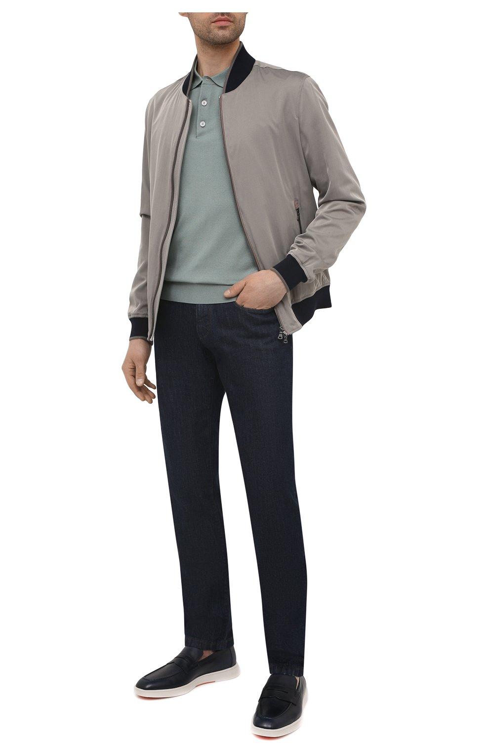 Мужские кожаные пенни-лоферы SANTONI темно-синего цвета, арт. MGMB17603BARECDWU42   Фото 2 (Материал внутренний: Натуральная кожа; Стили: Кэжуэл)
