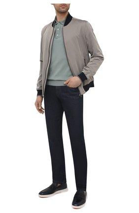 Мужские кожаные пенни-лоферы SANTONI темно-синего цвета, арт. MGMB17603BARECDWU42 | Фото 2 (Материал внутренний: Натуральная кожа; Стили: Кэжуэл)