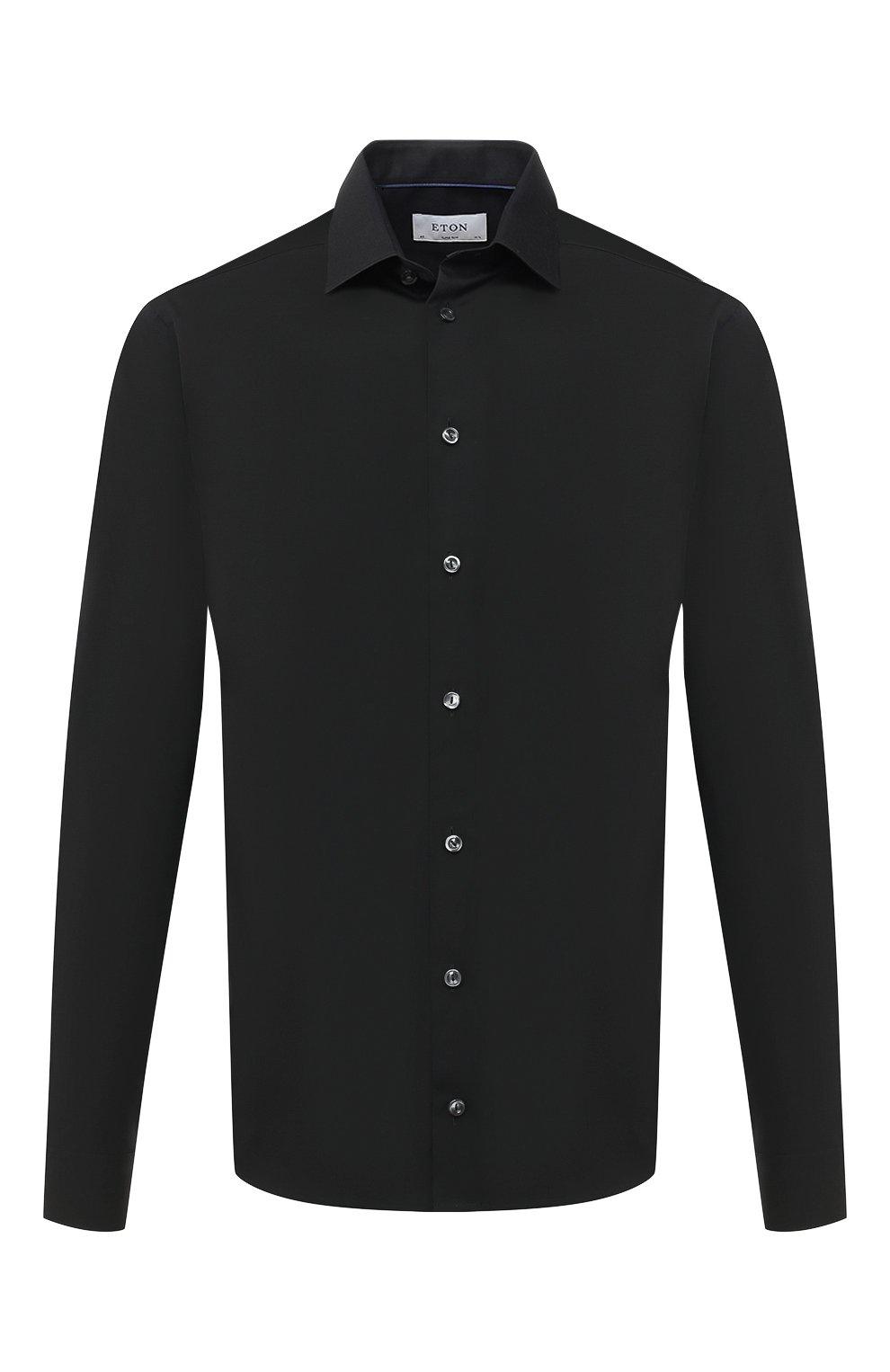 Мужская хлопковая сорочка ETON черного цвета, арт. 1000 01864 | Фото 1 (Воротник: Кент; Рукава: Длинные; Рубашки М: Super Slim Fit; Длина (для топов): Стандартные; Материал внешний: Хлопок; Стили: Классический; Случай: Формальный)
