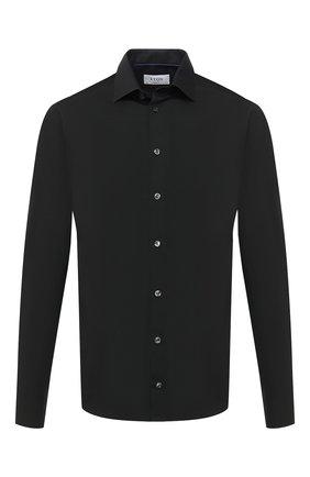 Мужская хлопковая сорочка ETON черного цвета, арт. 1000 01864 | Фото 1 (Рукава: Длинные; Материал внешний: Хлопок; Длина (для топов): Стандартные; Случай: Формальный; Стили: Классический; Рубашки М: Super Slim Fit; Воротник: Кент)