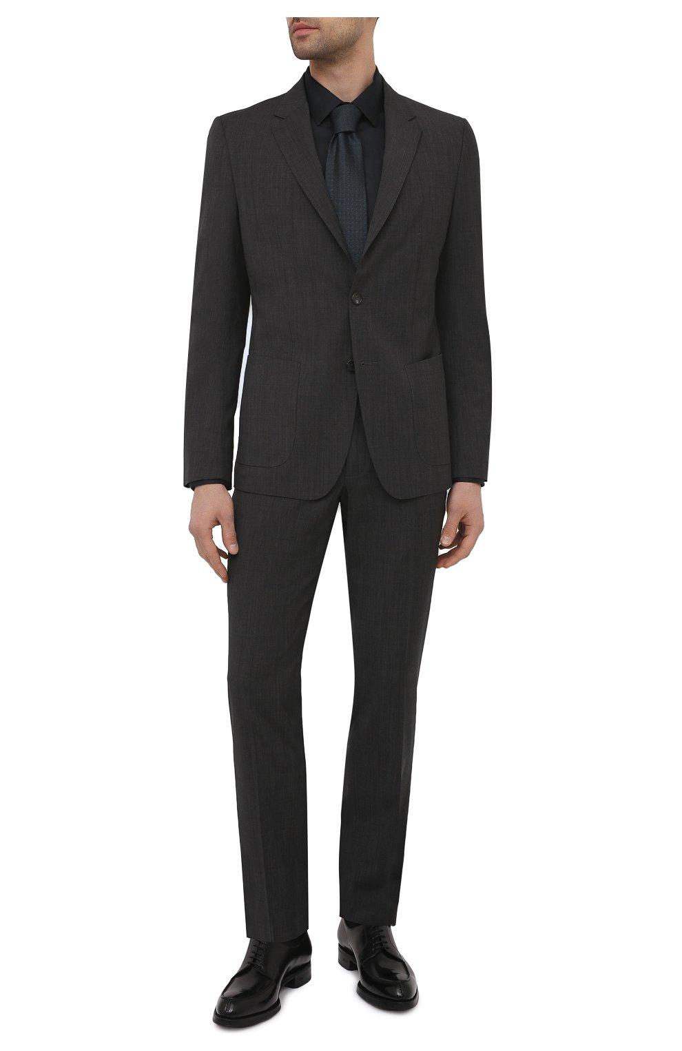 Мужская хлопковая сорочка ETON черного цвета, арт. 1000 01864 | Фото 2 (Воротник: Кент; Рукава: Длинные; Рубашки М: Super Slim Fit; Длина (для топов): Стандартные; Материал внешний: Хлопок; Стили: Классический; Случай: Формальный)