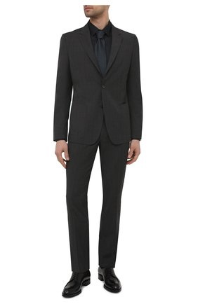 Мужская хлопковая сорочка ETON черного цвета, арт. 1000 01864 | Фото 2 (Рукава: Длинные; Материал внешний: Хлопок; Длина (для топов): Стандартные; Случай: Формальный; Стили: Классический; Рубашки М: Super Slim Fit; Воротник: Кент)