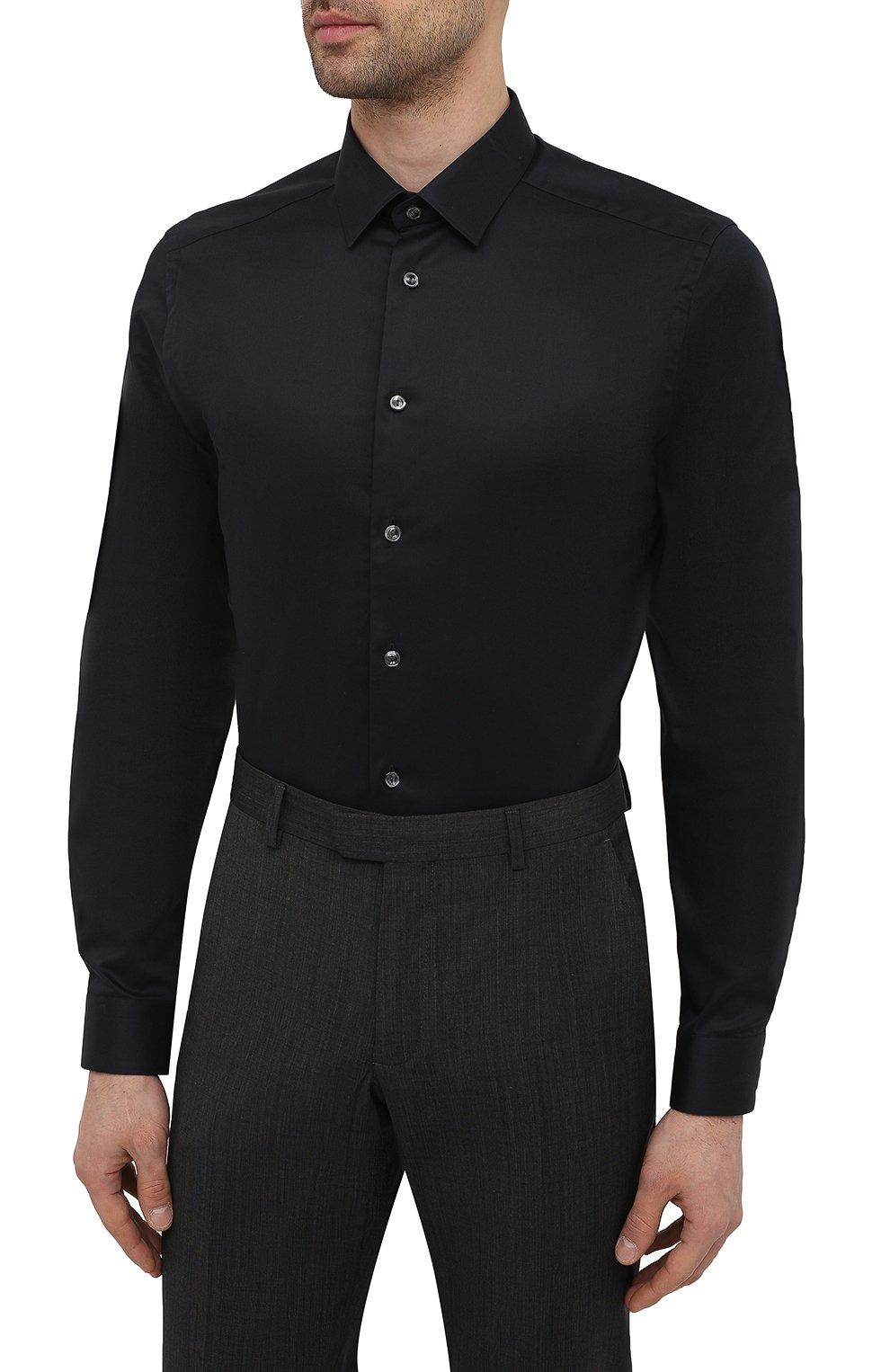 Мужская хлопковая сорочка ETON черного цвета, арт. 1000 01864 | Фото 3 (Воротник: Кент; Рукава: Длинные; Рубашки М: Super Slim Fit; Длина (для топов): Стандартные; Материал внешний: Хлопок; Стили: Классический; Случай: Формальный)