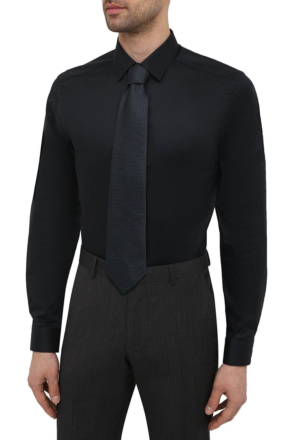 Мужская хлопковая сорочка ETON черного цвета, арт. 1000 01864 | Фото 4 (Воротник: Кент; Рукава: Длинные; Рубашки М: Super Slim Fit; Длина (для топов): Стандартные; Материал внешний: Хлопок; Стили: Классический; Случай: Формальный)