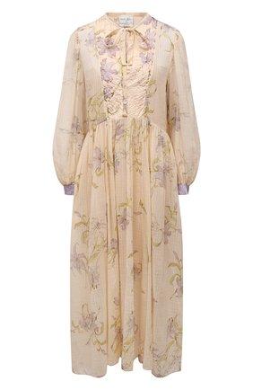 Женское платье из хлопка и шелка FORTE_FORTE бежевого цвета, арт. 8093 | Фото 1