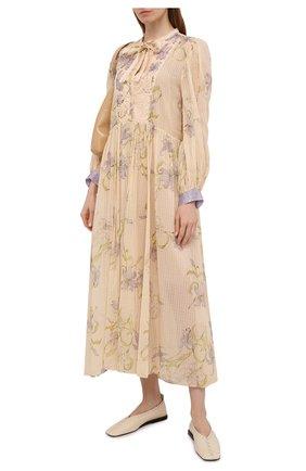 Женское платье из хлопка и шелка FORTE_FORTE бежевого цвета, арт. 8093 | Фото 2