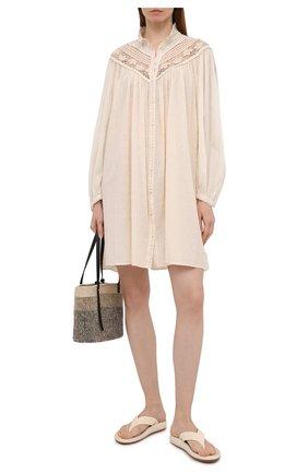 Женское хлопковое платье FORTE_FORTE бежевого цвета, арт. 8085 | Фото 2