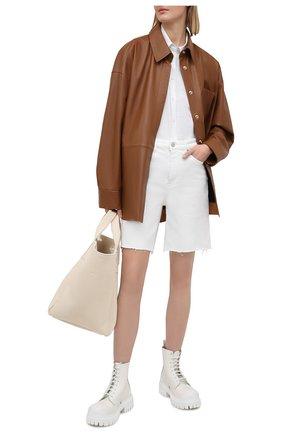 Женские джинсовые шорты 3X1 белого цвета, арт. WS0110952/0PTIC WHITE | Фото 2