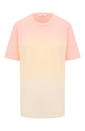 Женская хлопковая футболка SAINT LAURENT разноцветного цвета, арт. 649046/Y36AI   Фото 1 (Длина (для топов): Стандартные; Материал внешний: Хлопок; Рукава: Короткие; Женское Кросс-КТ: Футболка-одежда; Стили: Спорт-шик; Принт: С принтом)