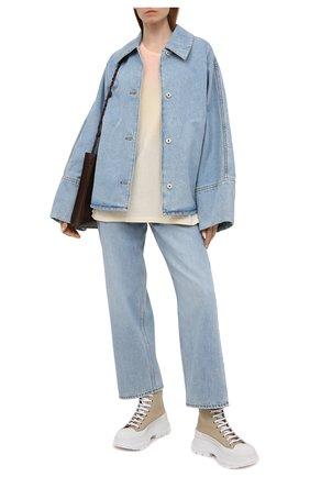 Женская хлопковая футболка SAINT LAURENT разноцветного цвета, арт. 649046/Y36AI   Фото 2 (Длина (для топов): Стандартные; Материал внешний: Хлопок; Рукава: Короткие; Женское Кросс-КТ: Футболка-одежда; Стили: Спорт-шик; Принт: С принтом)
