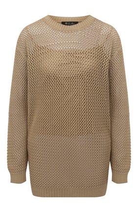 Женский свитер из хлопка и шелка LORO PIANA бежевого цвета, арт. FAL5796   Фото 1