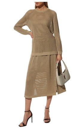 Женский свитер из хлопка и шелка LORO PIANA бежевого цвета, арт. FAL5796   Фото 2