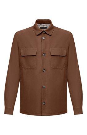 Мужская замшевая куртка LORO PIANA коричневого цвета, арт. FAL6174   Фото 1 (Длина (верхняя одежда): Короткие; Рукава: Длинные; Материал подклада: Хлопок; Кросс-КТ: Куртка; Мужское Кросс-КТ: Кожа и замша; Стили: Кэжуэл; Материал внешний: Замша)