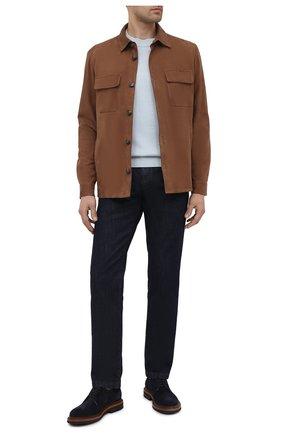 Мужская замшевая куртка LORO PIANA коричневого цвета, арт. FAL6174   Фото 2 (Длина (верхняя одежда): Короткие; Рукава: Длинные; Материал подклада: Хлопок; Кросс-КТ: Куртка; Мужское Кросс-КТ: Кожа и замша; Стили: Кэжуэл; Материал внешний: Замша)