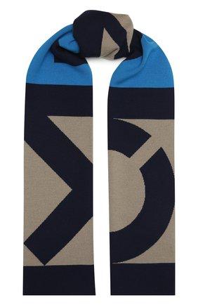 Мужской шерстяной шарф KENZO синего цвета, арт. FB58EU720KEB | Фото 1
