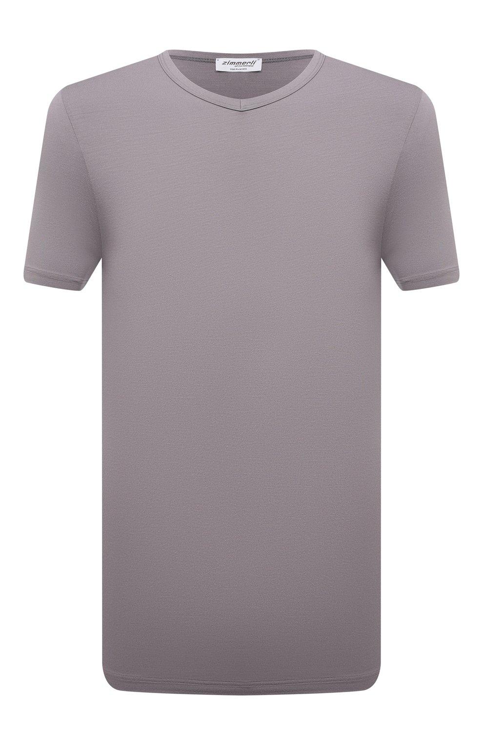 Мужская футболка ZIMMERLI серого цвета, арт. 700-1346 | Фото 1 (Кросс-КТ: домашняя одежда; Рукава: Короткие; Материал внешний: Синтетический материал; Длина (для топов): Стандартные; Мужское Кросс-КТ: Футболка-белье)