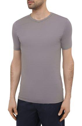 Мужская футболка ZIMMERLI серого цвета, арт. 700-1346 | Фото 3 (Кросс-КТ: домашняя одежда; Рукава: Короткие; Материал внешний: Синтетический материал; Длина (для топов): Стандартные; Мужское Кросс-КТ: Футболка-белье)