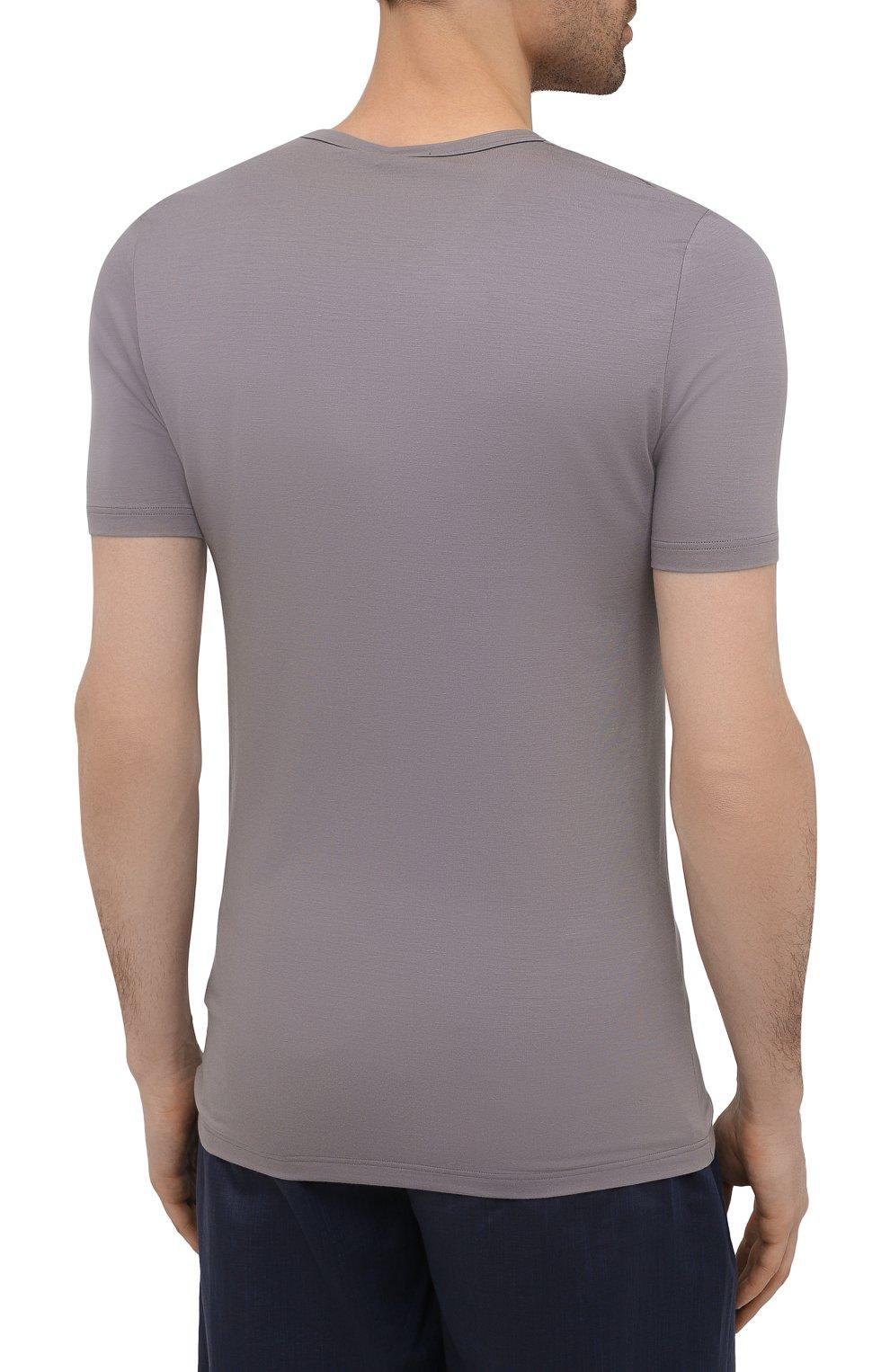 Мужская футболка ZIMMERLI серого цвета, арт. 700-1346 | Фото 4 (Кросс-КТ: домашняя одежда; Рукава: Короткие; Материал внешний: Синтетический материал; Длина (для топов): Стандартные; Мужское Кросс-КТ: Футболка-белье)