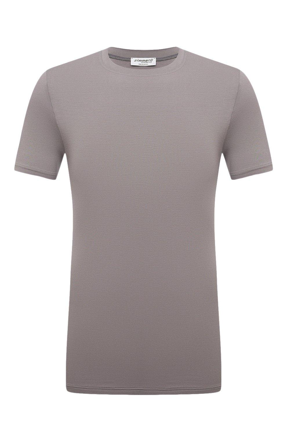 Мужская футболка ZIMMERLI темно-серого цвета, арт. 700-1341   Фото 1 (Кросс-КТ: домашняя одежда; Рукава: Короткие; Материал внешний: Синтетический материал; Длина (для топов): Стандартные; Мужское Кросс-КТ: Футболка-белье)