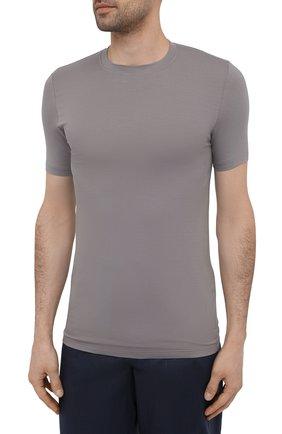 Мужская футболка ZIMMERLI темно-серого цвета, арт. 700-1341   Фото 3 (Кросс-КТ: домашняя одежда; Рукава: Короткие; Материал внешний: Синтетический материал; Длина (для топов): Стандартные; Мужское Кросс-КТ: Футболка-белье)