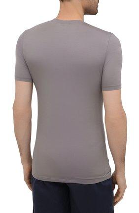 Мужская футболка ZIMMERLI темно-серого цвета, арт. 700-1341   Фото 4 (Кросс-КТ: домашняя одежда; Рукава: Короткие; Материал внешний: Синтетический материал; Длина (для топов): Стандартные; Мужское Кросс-КТ: Футболка-белье)
