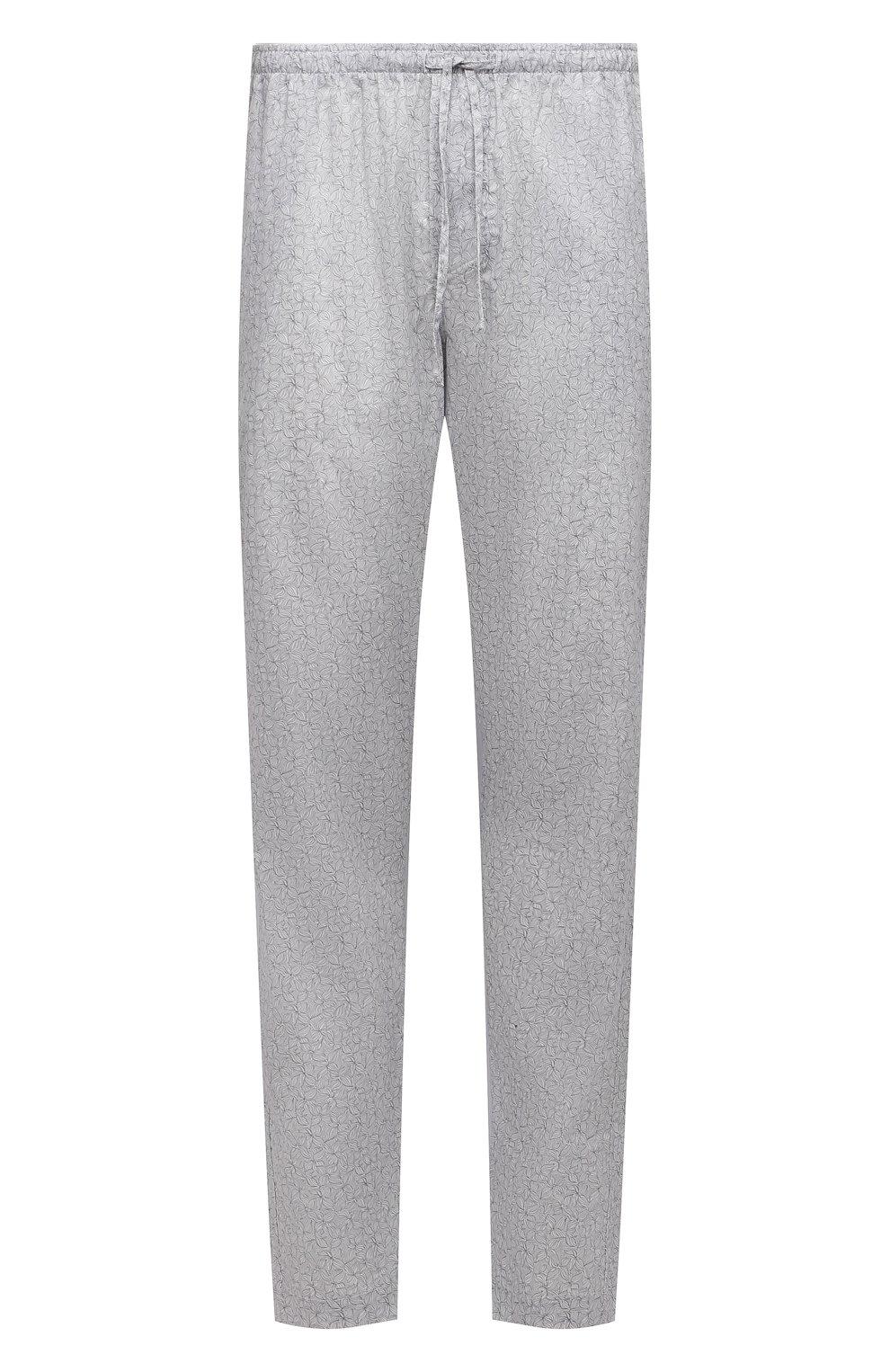 Мужские хлопковые домашние брюки ZIMMERLI светло-серого цвета, арт. 4763-75182 | Фото 1 (Длина (брюки, джинсы): Стандартные; Кросс-КТ: домашняя одежда; Мужское Кросс-КТ: Брюки-белье; Материал внешний: Хлопок)