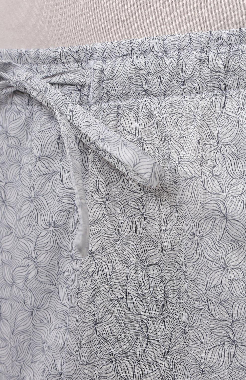 Мужские хлопковые домашние брюки ZIMMERLI светло-серого цвета, арт. 4763-75182 | Фото 5 (Длина (брюки, джинсы): Стандартные; Кросс-КТ: домашняя одежда; Мужское Кросс-КТ: Брюки-белье; Материал внешний: Хлопок)