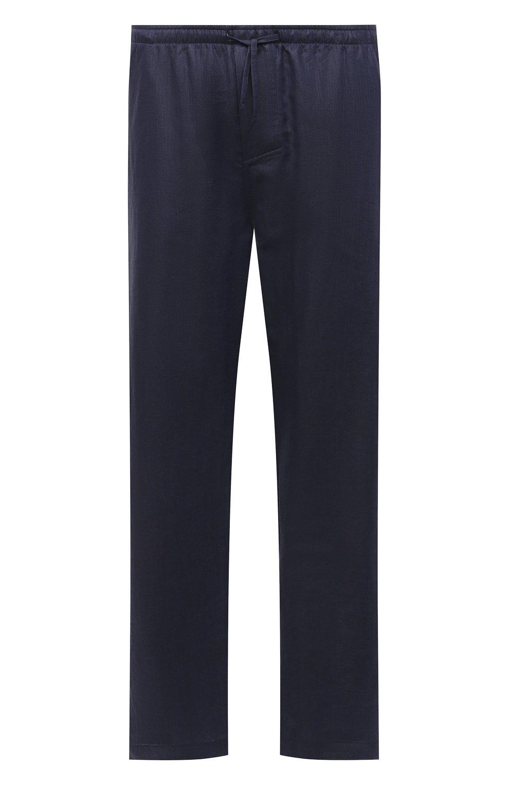 Мужские домашние брюки изо льна и хлопка ZIMMERLI темно-синего цвета, арт. 4697-75183   Фото 1 (Длина (брюки, джинсы): Стандартные; Кросс-КТ: домашняя одежда; Мужское Кросс-КТ: Брюки-белье; Материал внешний: Хлопок, Лен)