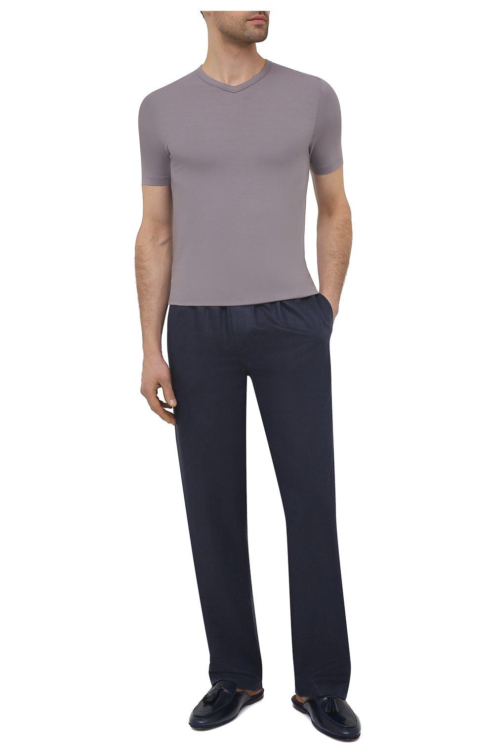 Мужские домашние брюки изо льна и хлопка ZIMMERLI темно-синего цвета, арт. 4697-75183   Фото 2 (Длина (брюки, джинсы): Стандартные; Кросс-КТ: домашняя одежда; Мужское Кросс-КТ: Брюки-белье; Материал внешний: Хлопок, Лен)