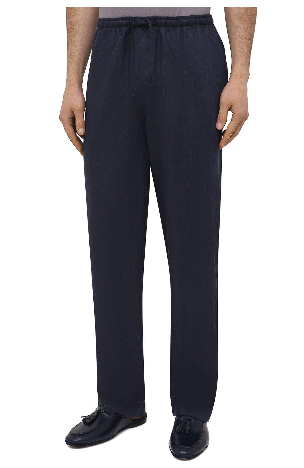 Мужские домашние брюки изо льна и хлопка ZIMMERLI темно-синего цвета, арт. 4697-75183   Фото 3 (Длина (брюки, джинсы): Стандартные; Кросс-КТ: домашняя одежда; Мужское Кросс-КТ: Брюки-белье; Материал внешний: Хлопок, Лен)