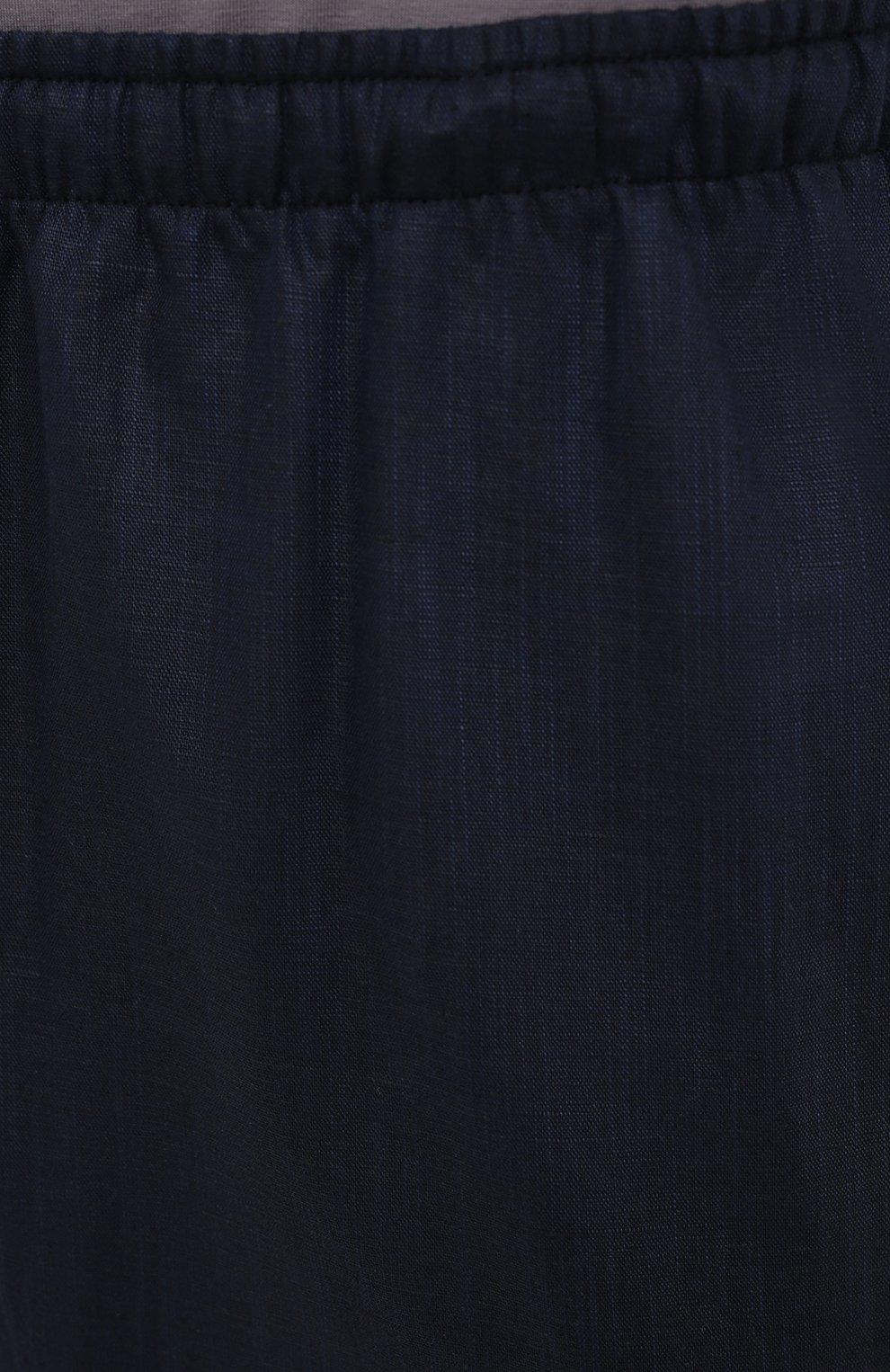 Мужские домашние брюки изо льна и хлопка ZIMMERLI темно-синего цвета, арт. 4697-75183   Фото 5 (Длина (брюки, джинсы): Стандартные; Кросс-КТ: домашняя одежда; Мужское Кросс-КТ: Брюки-белье; Материал внешний: Хлопок, Лен)