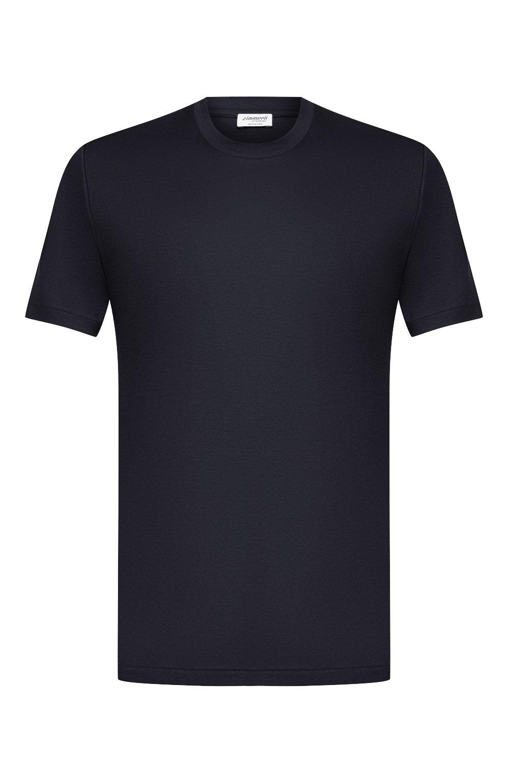 Мужская хлопковая футболка ZIMMERLI темно-синего цвета, арт. 286-1447   Фото 1 (Кросс-КТ: домашняя одежда; Рукава: Короткие; Длина (для топов): Стандартные; Материал внешний: Хлопок; Мужское Кросс-КТ: Футболка-белье)