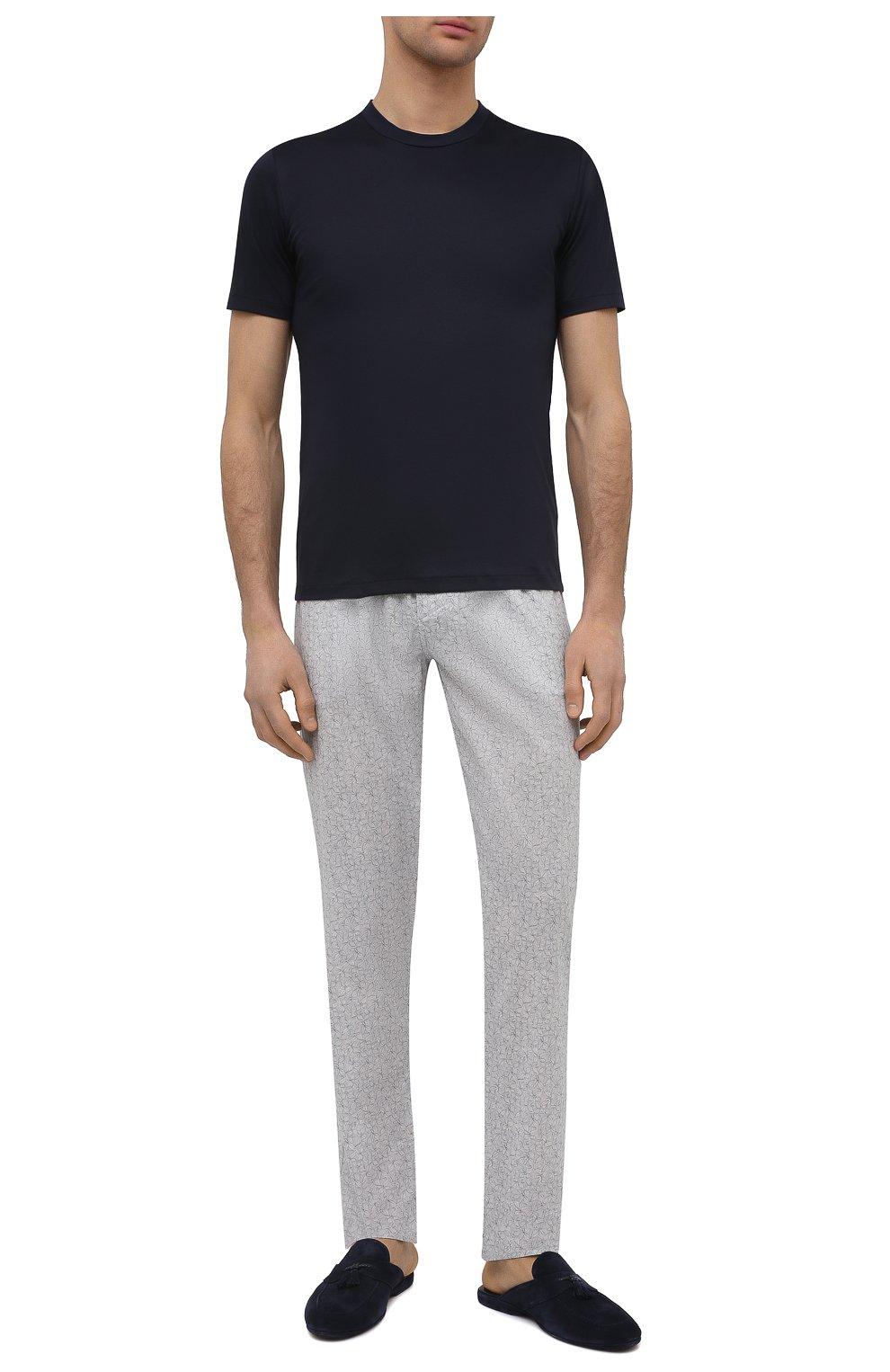 Мужская хлопковая футболка ZIMMERLI темно-синего цвета, арт. 286-1447   Фото 2 (Кросс-КТ: домашняя одежда; Рукава: Короткие; Длина (для топов): Стандартные; Материал внешний: Хлопок; Мужское Кросс-КТ: Футболка-белье)