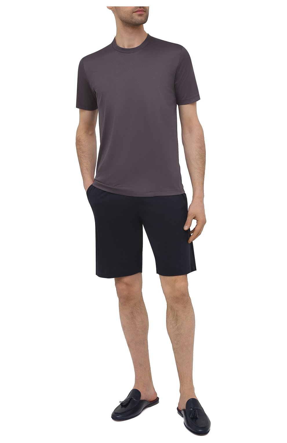 Мужская хлопковая футболка ZIMMERLI темно-серого цвета, арт. 286-1447 | Фото 2 (Кросс-КТ: домашняя одежда; Рукава: Короткие; Длина (для топов): Стандартные; Материал внешний: Хлопок; Мужское Кросс-КТ: Футболка-белье)