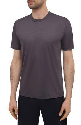 Мужская хлопковая футболка ZIMMERLI темно-серого цвета, арт. 286-1447 | Фото 3 (Кросс-КТ: домашняя одежда; Рукава: Короткие; Длина (для топов): Стандартные; Материал внешний: Хлопок; Мужское Кросс-КТ: Футболка-белье)