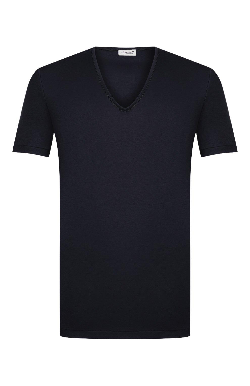 Мужская хлопковая футболка ZIMMERLI темно-синего цвета, арт. 286-1442 | Фото 1 (Кросс-КТ: домашняя одежда; Рукава: Короткие; Длина (для топов): Стандартные; Материал внешний: Хлопок; Мужское Кросс-КТ: Футболка-белье)