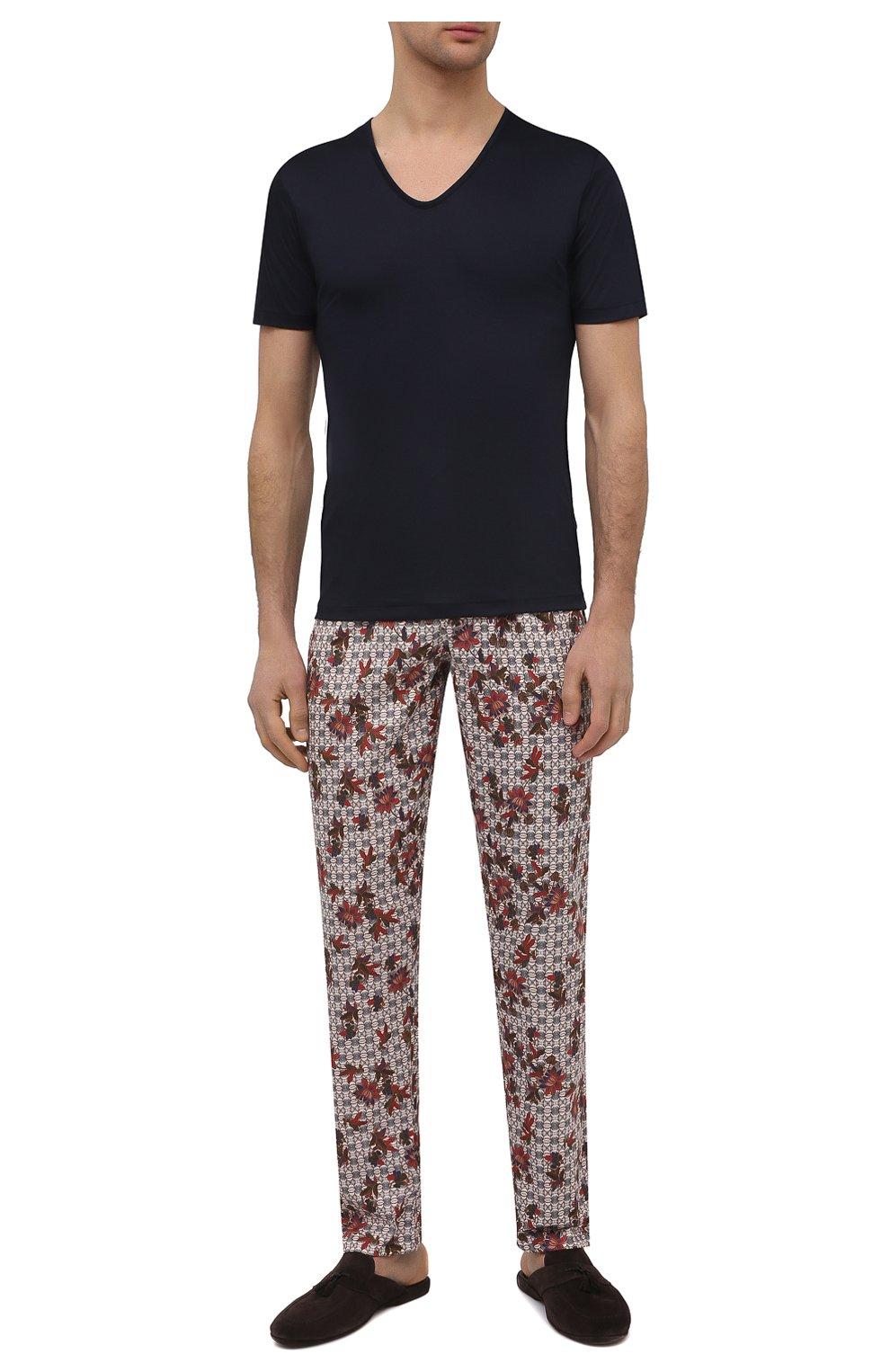 Мужская хлопковая футболка ZIMMERLI темно-синего цвета, арт. 286-1442 | Фото 2 (Кросс-КТ: домашняя одежда; Рукава: Короткие; Длина (для топов): Стандартные; Материал внешний: Хлопок; Мужское Кросс-КТ: Футболка-белье)