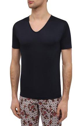 Мужская хлопковая футболка ZIMMERLI темно-синего цвета, арт. 286-1442 | Фото 3 (Кросс-КТ: домашняя одежда; Рукава: Короткие; Длина (для топов): Стандартные; Материал внешний: Хлопок; Мужское Кросс-КТ: Футболка-белье)